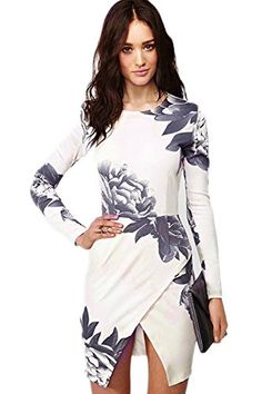 Jubileens Women Long Sleeve Back Zipper Casual Floral Short Bodycon Mini Dress (S) Jubileens http://www.amazon.com/dp/B0196FGLFC/ref=cm_sw_r_pi_dp_tD41wb08QKJJC