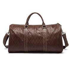 WESTAL Genuine Leather Men Travel Bags Carry On Luggage Bag Zipper Men Bags Casual Men's Travel Leather Duffle Bag Handbag Tote