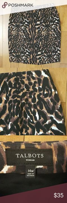 """Talbots Woman Animal Print Pencil Skirt Talbots Woman Animal Print Pencil Skirt.   Size 14W.  Beautiful leopard print skirt with back zip and side elastic for a comfortable fit.   Lined, Poly blend. 16.5"""" across the waist. 21.5"""" across the hips.  22.5"""" long Talbots Skirts Pencil"""