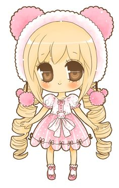 cute bear hat girl manga style