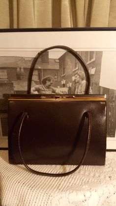 b7197c95db67 Handbag vintage leather chocolate brown - 50s Purse - Vintage 1950s Kelly  Style Handbag by MrsOldSchoolShop