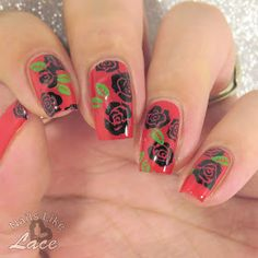 NailsLikeLace: Black Stamped Roses on Red