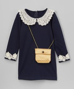 Look what I found on #zulily! Navy Lace Peter Pan Shift Dress & Purse - Toddler & Girls #zulilyfinds