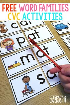 Need word families activities for kindergarten or first grade students? These printable hands-on activities are free to sample and include -at and -an word families. They are perfect for guided reading groups, centers, word work and more! Word Family Activities, Cvc Word Families, Spelling Activities, Kindergarten Lessons, Hands On Activities, Literacy Activities, Kindergarten Activities, Literacy Centers, Short A Activities