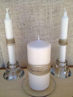 Rustic Twine Bling Unity Candle Set - Wedding Set of Farm rustic beach… Plan My Wedding, Wedding Sets, Our Wedding, Dream Wedding, Wedding Stuff, Wedding Decor, Sand Candles, Wedding Unity Candles, Pillar Candles