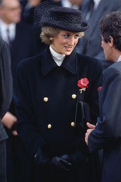 Princess Diana in Jaspar Conran coat with Viv Knowlands hat - Wreath laying ceremony to commemorate the 80th Anniversary of Armistice Day @ Arc de Triumphe, Paris - November 1988