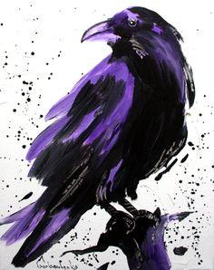 Crow, Original Acrylic Painting ,Crow lover Art,  Raven - Tetiana Art