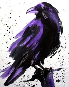 Crow, Original Acrylic Painting ,Crow lover Art,  Raven - Tetiana Art