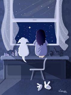 wish upon a star by Xandox on DeviantArt Good Night Beautiful, Beautiful Lights, Look At The Stars, Stars And Moon, Night Illustration, Good Night Moon, Illustrations, Cartoon Pics, Night Skies