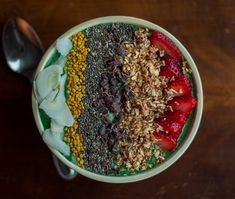 I'm a big time green smoothie lover and recently I've been doing some experimenting with new ingredients. About a month ago I ordered a few specialty health food items that are a little… Smoothie Bowl, Smoothies, Granola Cereal, Bee Pollen, Cacao Nibs, Spirulina, Hemp Seeds, Nut Butter, Wisteria