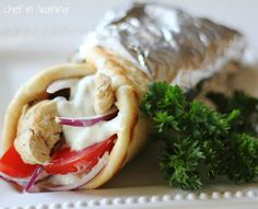 Greek Gyro Chicken, Tzatziki Sauce, and Flat Bread