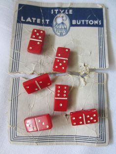 #ButtonArtMuseum.com - 6 VINTAGE AND ADORABLE Latest Style Brand RED DOMINOS Plastic BUTTONS