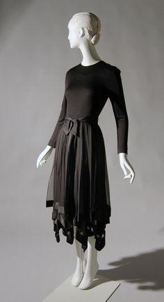 Bill Blass Dress in Black jersey, black silk gauze, black satin ribbon circa 1975 - Philadelphia Museum of Art