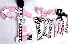 Pink Black Zebra Floral Painted Letters Funky by TheFairyPaintbox
