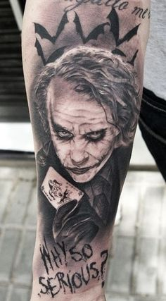 Heath Ledger will forever be immortalized as the Joker in The Dark Knight. Tattoo by Miguel Bohigues. http://www.menstattooideas.net/batman-tattoos/ More