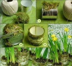 Vasinho de planta ecológico com grama e barbante   Creative
