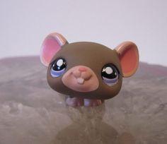 Littlest Pet Shop Borwn Mouse LPS Purple Eyes Pink Ears Baby Mouse #1808 #Hasbro