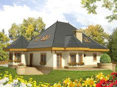 Zdjęcie projektu Tulipan G2 WRC1819 Bungalow Style House, Architectural House Plans, Kerala House Design, Kerala Houses, House With Porch, Design Case, Small House Plans, Home Fashion, Modern Architecture