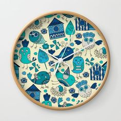 Abstract colorful hand drawn floral pattern design Wall Clock by somberlain Wall Design, Hand Drawn, Pattern Design, How To Draw Hands, Clock, Colorful, Abstract, Floral, Watches