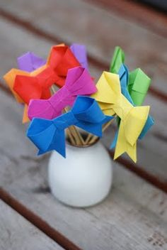 Paper origami bows
