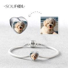 Upload Your Precious Photo Into The Charms, Soufeel Crystal Heart Charm 925 Sterling Silver Memorable Charm Fit All Brands Bracelets