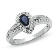 Pear-Shaped Sapphire Vintage-Style Ring in 10K White Gold with Diamond Accents