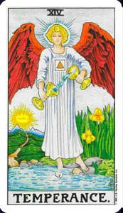 How to read the temperance card in the major arcana of the rider waite tarot