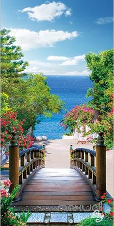 Superior Quality and Striking Color Natural, Environmental and Breathable The images on the picture is for illustration purpose only, please refer to the a # Nature beach Bridge Beach Tree Corridor Entrance Wall Mural Decals Art Print Wallpaper 066 Studio Background Images, Photo Background Images, Photo Backgrounds, Beautiful Landscape Wallpaper, Beautiful Landscapes, Beautiful Gardens, Landscape Photography, Nature Photography, Photography Backdrops