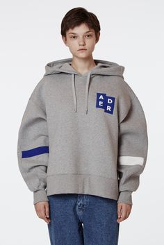 [Signature tag collection] Oversize hoodie grey www.adererror.com #ader#fashion#brand#company#minimal#contemporary#styling#editorial