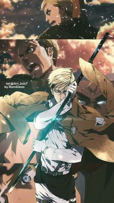 Erwin Smith attack on titan Erwin Attack On Titan, Levi And Erwin, Attack On Titan Fanart, Manga Anime, Anime Guys, Anime Art, Dope Wallpapers, Animes Wallpapers, Anime Collage