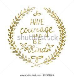 Hand drawn calligraphy lettering Inspiration quote Motivational words Gold laurel leaves frame, encouraging phrase, positive thinking message Great for poster, greeting card, wall decal, t shirt print - stock vector