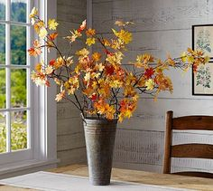 Faux Mini Maple Leaf Branch - add several to a metal vase for a simplistic look.