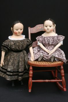These two dolls are finished and looking for a loving new family.  The black dress that the doll on the left is wearing has been sold, so yo...