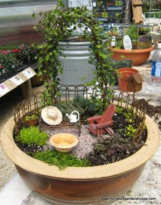 Miniature Garden Inspiration Gallery - An arbor or a trellis plus a dainty vine will make a good backdrop.