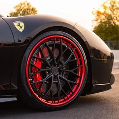 "Beautiful 21"" @anrkywheels AN30 wheels finished in Satin Black centers with Mirror Red lips and hidden ARP Stainless hardware. @pirelli 255/30/21 added for the perfect fit on this Ferrari 458. Looking for a quote on these Anrky wheels? Reach us at 1.888.239.4335 or @wheelsperformance"