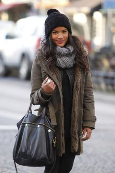 beanie, heavy coat and scarf