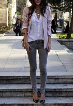 Color Combo to Try: Pink and Gray Outfits