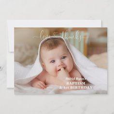 White Flowers Gold Boy Photo 1st Birthday Baptism Thank You Card Baptism Thank You Cards, Photo Thank You Cards, Gold Birthday, 1st Birthday Parties, Cross Love, Prayer Cards, Boy Photos, Christening, White Flowers
