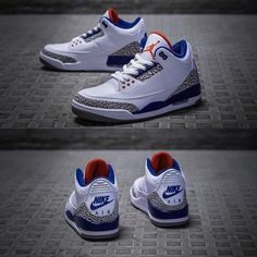 TRUE BLUE. A single shot of the shoe confirms that this retro will in fact boast the original versions Nike Air heel branding. Additionally the imagery reveals that the tongue of the 2016 retro will feature the OGs classic red tongue; these two features were not previously available on the older 2009 and 2011 retros. _ Full family sizing available at kickbackzny.com. _ Worldwide & Military shipping options.