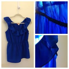Blue ruffled neck shirt - so cute! Cobalt blue ruffled neck shirt. Elastic waist. Size medium. Polyester. Hits at hip (I'm 5'4). Very flattering! Looks great with jeans for daily wear or dressed up with a skirt and statement jewelry for a special occasion (see photo for example). Happy to do a try on if requested. Happy poshing! Forever 21 Tops
