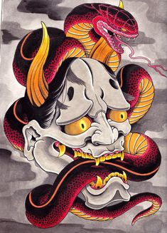 japanese tattoos designs and meanings Japanese Oni Mask, Japanese Demon Tattoo, Japanese Sleeve Tattoos, Japanese Art, Japanese Prints, Irezumi Tattoos, Art Tattoos, Chinese Tattoo Designs, Japan Tattoo Design