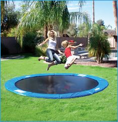 In-Ground trampoline! Won't blow away in a storm, and you can't fall off from it. perfect!