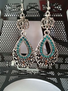 Oval earrings Teal Bronze rhinestones by Zoeysbeautyboutique, $5.00 INEXPENSIVE PROM JEWELRY LADIES!!!!! HANDMADE!