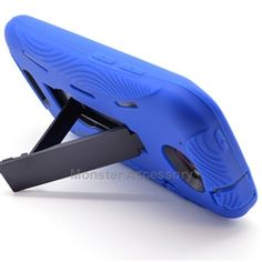 Click Image to Browse: $9.95 Blue Kickstand Double Layered Hard Case Gel Cover For HTC One S