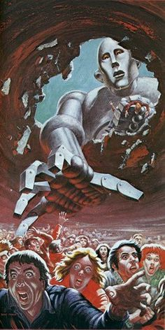 """Poster for Queen's """"News of the World"""" tour by Sci-Fi illustrator Frank Kelly Freas - 1977."""