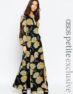 ASOS PETITE Maxi Dress in Floral Print with Keyhole Detail