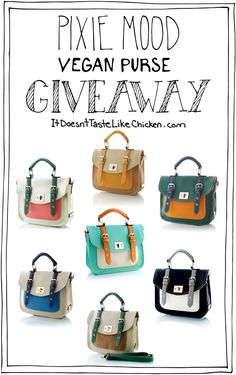 Pixie Mood Vegan Purse GIVEAWAY!!! Win one of these beautiful vegan purses in colour of your choice. Need I say more? #itdoesnttastelikechicken