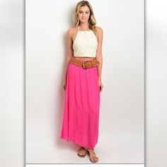 Fuchsia Maxi Skirt with Wide Braided Belt Ready for laid-back summer days! You can dress this maxi skirt up or down. It can easily go to the office, happy hour, or all your summer festivals. It is made of a polyester/spandex blend and measures 37 inches long. It is available in small, medium, and large. Boutique Skirts Maxi
