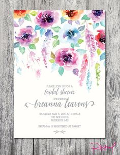 Custom bridal shower invitation watercolor garden party floral DIGITAL FILE