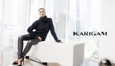"Karigam's creative director Karina Gomez kept it simple for the line's debut at New York Fashion Week. The part-time Miami resident, who also works at her family's import/export company Airemark Industries LLC, sent out models in clothing that can best be summed up as sophisticated, minimalist and elegant. Think part Robert Palmer video, part sci-fi fantasy: lots of neutrals, slicked back hair, zippers and warped hemlines. ""I was inspired by the melding of the futuristic geometric, techn..."